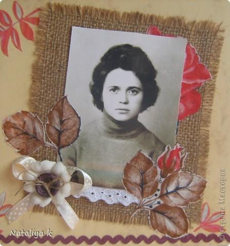 Наконец-то я решилась на первую страничку(до сих пор были только открыточки)!!!Делала её в подарок для свекрови,которой вчера исполнилось 72 года. фото 3