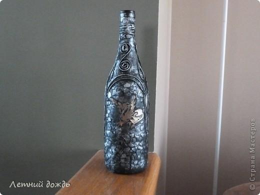 Вот такой средневековый замок мне явился: с драконами,гриффонами и конечно храбрым рыцарем. Сделала буквально вчера. Как делать пейп арт вот тут http://stranamasterov.ru/node/308701 .  Бутылочка со вкусным напитком уйдет в подарок. И так: Дракон фото 5