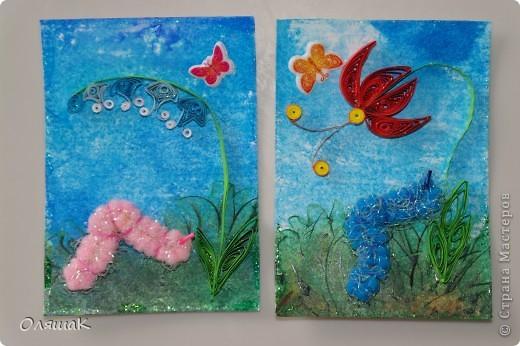 Здравствуйте! Спешим представить вам наши летние фантазии, фон - энкаустика, цветы квиллинговые, гусенички из резиночки для волос... фото 2