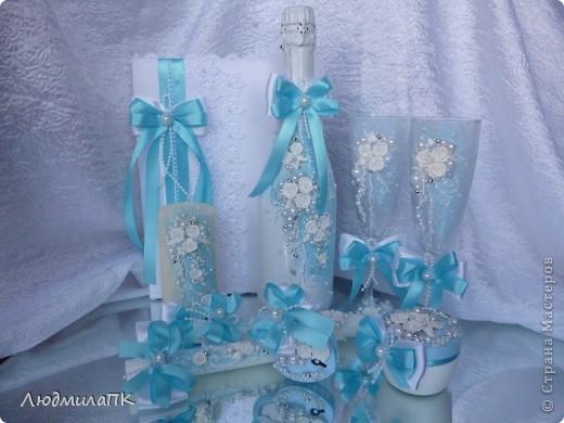 Свадебный набор в голубом стиле фото 1
