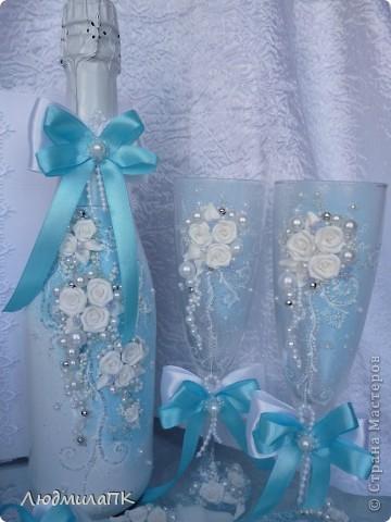 Свадебный набор в голубом стиле фото 2