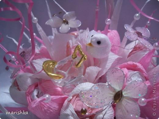Очень хотелось сделать колясочку с цветами ко дню рождения малышки,но время поджимало,и в итоге получилась корзинка в нежных тонах.Украсила корзиночку хрустальной колясочкой и белой птичкой. фото 1