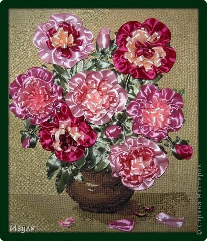 Листву вышивала, а цветы - аппликация. Предлагаю всем попробовать смастерить этот цветок своими руками. Это совсем не сложно! фото 1