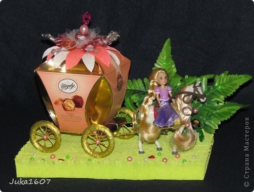 Здравствуй СТРАНА. Пригласили моего сынульку на день рождения. День рождения удался, аниматоры молодцы. А это наш подарок - принцесса Рапунцель на своём коне и с целой каретой конфет. фото 1
