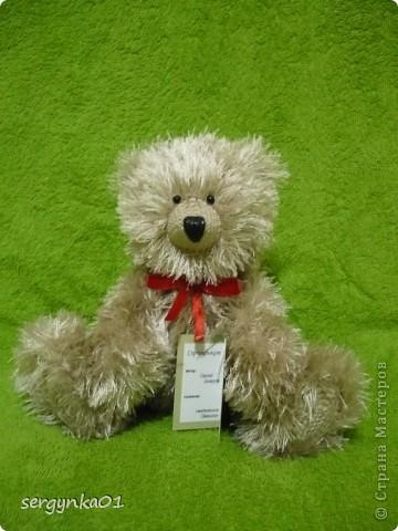 Еще один медвежонок, связанный мною в подарок ко дню рождения!!! Зовут его Сёмушка!!! фото 1