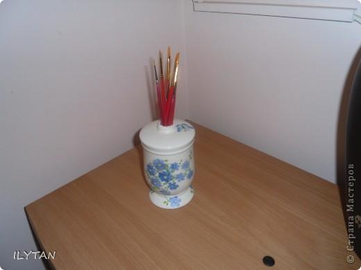 Декорирование  стакана  для  кисточек фото 1