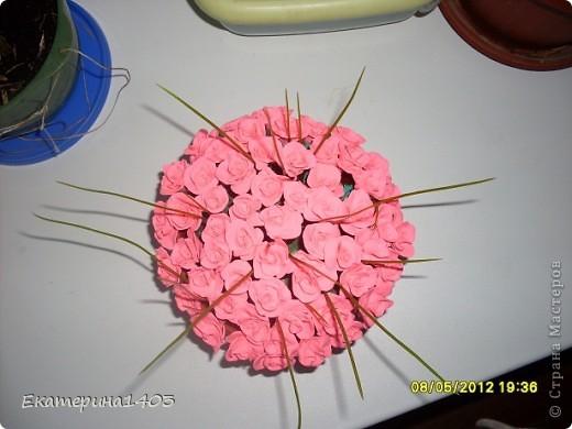 Букет роз...57штук, розы из глины, зелень искусственная для аквариума))) фото 1