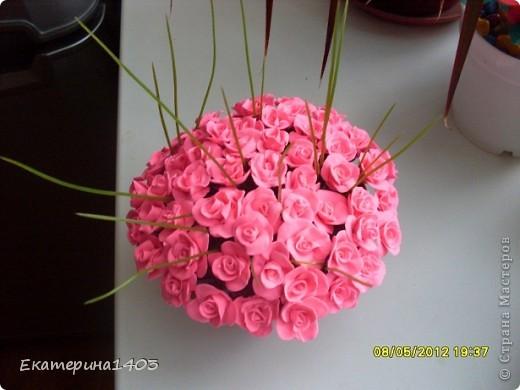 Букет роз...57штук, розы из глины, зелень искусственная для аквариума))) фото 2