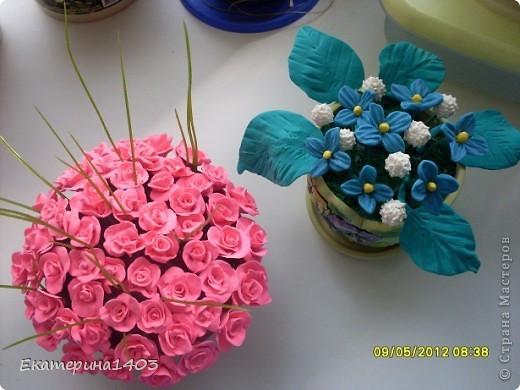 Букет роз...57штук, розы из глины, зелень искусственная для аквариума))) фото 3
