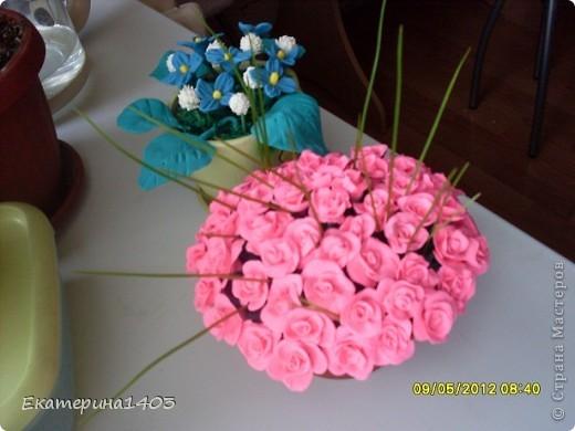 Букет роз...57штук, розы из глины, зелень искусственная для аквариума))) фото 4