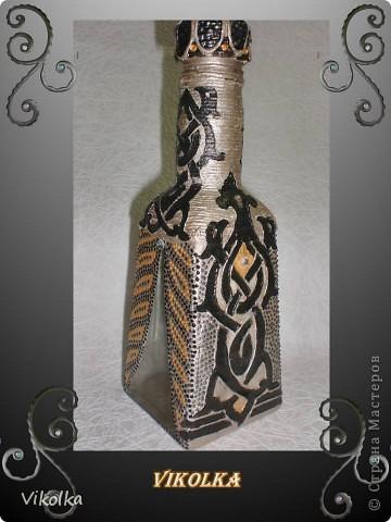 """Доброго времени суток всем! Представляю вам мою новую работу - маленькую бутылочку (250 гр) """"Золотой шатер"""".В работе были использованы - краски акриловые, контуры, шпагат, шпатлёвка, распечатки на папиросной бемаге, стразики и лак. фото 1"""