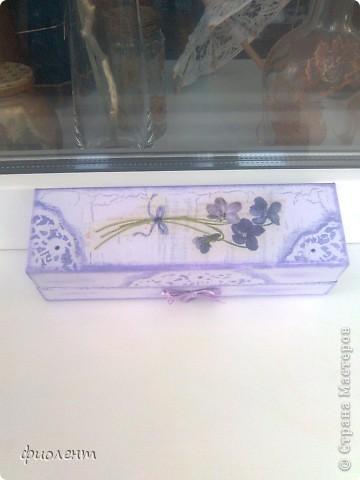 Любимая сиреневая гамма.Попала мне в руки симпатичная коробочка,решила ее облагородить.Как будто бы неплохо получилось. фото 3