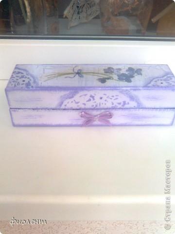 Любимая сиреневая гамма.Попала мне в руки симпатичная коробочка,решила ее облагородить.Как будто бы неплохо получилось. фото 4
