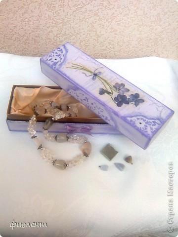 Любимая сиреневая гамма.Попала мне в руки симпатичная коробочка,решила ее облагородить.Как будто бы неплохо получилось. фото 5