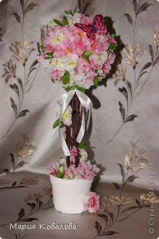 это мое 1-е такое деревце!!! отдельное спасибо   НатальяНикитина  http://stranamasterov.ru/node/343646  Деревце высотой около 50 см, из них горшочек, обтянутый капроном (грунтованный белой краской), 10 см, ствол из веточки сакуры,без цветочков. фото 1