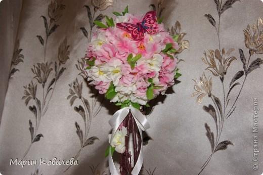 это мое 1-е такое деревце!!! отдельное спасибо   НатальяНикитина  http://stranamasterov.ru/node/343646  Деревце высотой около 50 см, из них горшочек, обтянутый капроном (грунтованный белой краской), 10 см, ствол из веточки сакуры,без цветочков. фото 3
