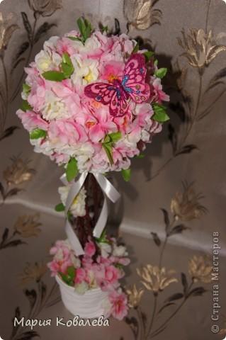 это мое 1-е такое деревце!!! отдельное спасибо   НатальяНикитина  http://stranamasterov.ru/node/343646  Деревце высотой около 50 см, из них горшочек, обтянутый капроном (грунтованный белой краской), 10 см, ствол из веточки сакуры,без цветочков. фото 4