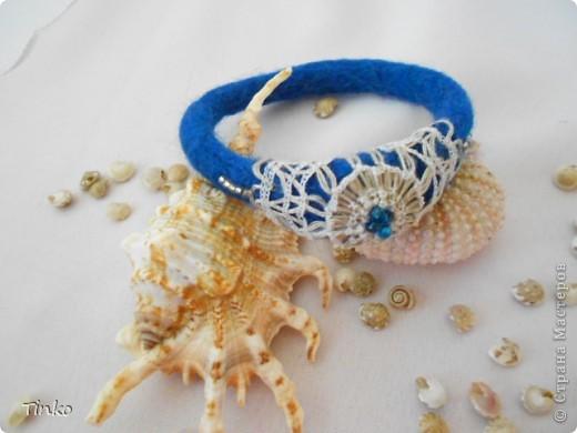 """Новый браслетик """"морского цвета"""" с льняным кружевом. фото 1"""