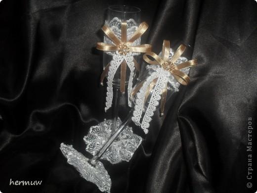 свадебные фужеры из набора нежное кружево,сделаны за час,пока доча спала)))))) фото 2