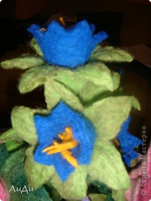 Валяная корзина с цветами фото 7