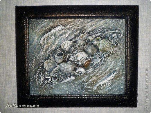 Картина панно рисунок Мастер-класс Ассамбляж Коллаж в технике терра Мастер-класс Морское дно с креветками Материал природный Монета фото 1