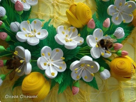 Картина панно рисунок Бумагопластика Квиллинг Аромат весны Бумага Бумага гофрированная Бумажные полосы Проволока фото 2