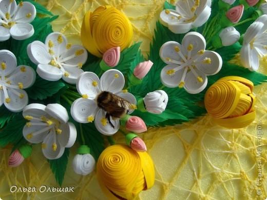 Картина панно рисунок Бумагопластика Квиллинг Аромат весны Бумага Бумага гофрированная Бумажные полосы Проволока фото 5