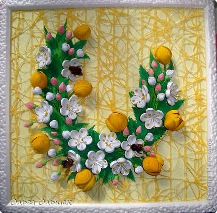 Картина панно рисунок Бумагопластика Квиллинг Аромат весны Бумага Бумага гофрированная Бумажные полосы Проволока фото 6