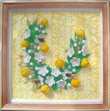 Картина панно рисунок Бумагопластика Квиллинг Аромат весны Бумага Бумага гофрированная Бумажные полосы Проволока фото 9