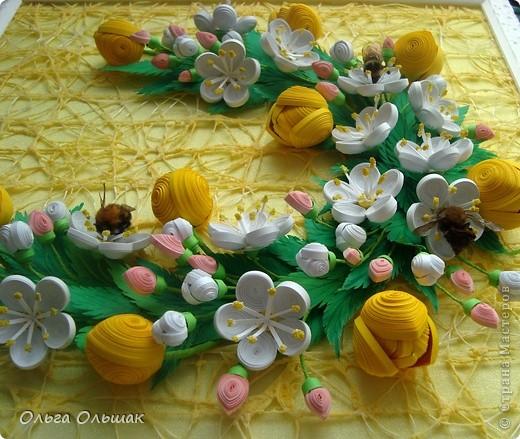 Картина панно рисунок Бумагопластика Квиллинг Аромат весны Бумага Бумага гофрированная Бумажные полосы Проволока фото 7