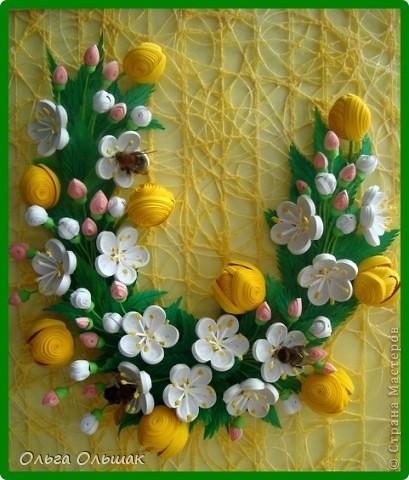 Картина панно рисунок Бумагопластика Квиллинг Аромат весны Бумага Бумага гофрированная Бумажные полосы Проволока фото 8