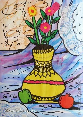 """Натюрморт """"Ваза с цветами"""" (в технике """"объемная аппликация"""" и 2-3 предмета на выбор)  - акварельная заливка  - отделка ажурными салфетками (можно использовать самодельные снежинки-кружева) - аппликация фото 6"""