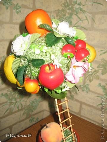 Это деревце делала по примеру яблони, только фрукты все разные, добавлены ягоды черешни. фото 2