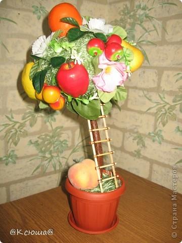 Это деревце делала по примеру яблони, только фрукты все разные, добавлены ягоды черешни. фото 3