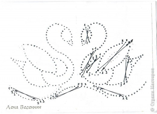 Доброго времени суток дорогие жители СМ!!! Предлагаю вашему вниманию мои схемы пары лебедей. Они очень простые и на них можно учиться освоению изонити. По 1 схеме небольшой МК.  Коротко о символике лебедей. Почитание лебедей имеет очень древние корни. Их образ у наших далёких предков часто связывался с солнцем, лебеди сопровождали Бога Солнца, влекли солнечное колесо.  С символикой лебедя связан бог Брахма. Лебедь или гусь - его персональная эмблема. Это та самая волшебная птица, что отложила на воды космическое яйцо, из которого появился сам Брахма.  В греко-римской традиции эта птица - знак любвеобилия, связанная с Афродитой.  Германцы считали лебедей птицами, которые могут предсказывать будущее, полагали, что в них превращаются души юных дев. У древних племен Западной Европы лебединые божества тоже ассоциируются с солнечной колесницей и являются благодетелями людей, обладают целительными силами, символизируют щедрость, любовь и чистоту.  Китайцы также называют лебедя солнечной птицей. У бурят он является олицетворением вечного материнства. У славян лебединая пара - воплощение супружеской верности, красоты, мужества, храбрости. Казахи называют лебедя царём птиц, кеты считают вестником весны и тепла.  В христианстве белый лебедь - это чистота, милосердие и символ Девы Марии.   фото 33