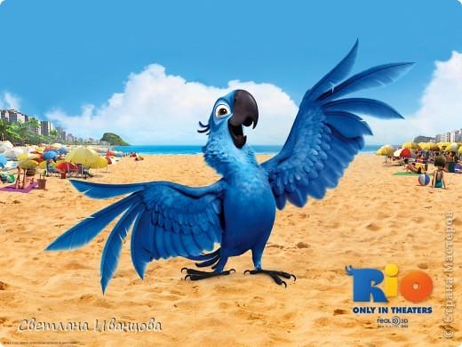 """Приветик всем. Показываю сегодня свой """"долгострой"""" Ещё в прошлом году сын посмотрел мультик Рио и очень полюбил главного героя Голубчика, и просил меня слепить ему попугая. фото 3"""