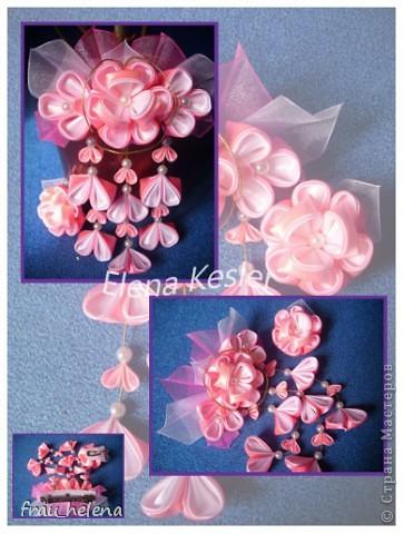 Представляю очередные мои работы Канзаши. Этот комплект я делала на выпускной в дет.сад. фото 2