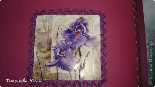 Ко дню рождения мамочки сделала в подарок фотоальбом из 8 разворотов.Размер обложки 23*23 см, листы 21*21 см Использовала бумагу для пастели, скрап бумагу, Обложку делала из бумаги для черчения А3 и упаковочной бумаги с розами. Для декора использовала 3D картинки (2 набора) и металлические подвески.  фото 11