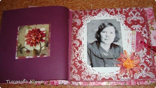 Ко дню рождения мамочки сделала в подарок фотоальбом из 8 разворотов.Размер обложки 23*23 см, листы 21*21 см Использовала бумагу для пастели, скрап бумагу, Обложку делала из бумаги для черчения А3 и упаковочной бумаги с розами. Для декора использовала 3D картинки (2 набора) и металлические подвески.  фото 15