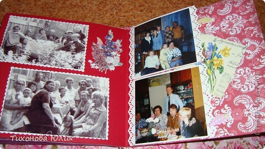 Ко дню рождения мамочки сделала в подарок фотоальбом из 8 разворотов.Размер обложки 23*23 см, листы 21*21 см Использовала бумагу для пастели, скрап бумагу, Обложку делала из бумаги для черчения А3 и упаковочной бумаги с розами. Для декора использовала 3D картинки (2 набора) и металлические подвески.  фото 22