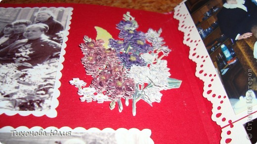 Ко дню рождения мамочки сделала в подарок фотоальбом из 8 разворотов.Размер обложки 23*23 см, листы 21*21 см Использовала бумагу для пастели, скрап бумагу, Обложку делала из бумаги для черчения А3 и упаковочной бумаги с розами. Для декора использовала 3D картинки (2 набора) и металлические подвески.  фото 23