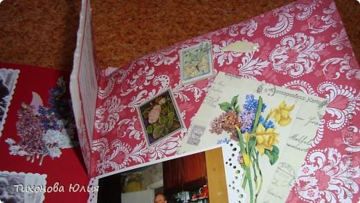 Ко дню рождения мамочки сделала в подарок фотоальбом из 8 разворотов.Размер обложки 23*23 см, листы 21*21 см Использовала бумагу для пастели, скрап бумагу, Обложку делала из бумаги для черчения А3 и упаковочной бумаги с розами. Для декора использовала 3D картинки (2 набора) и металлические подвески.  фото 24