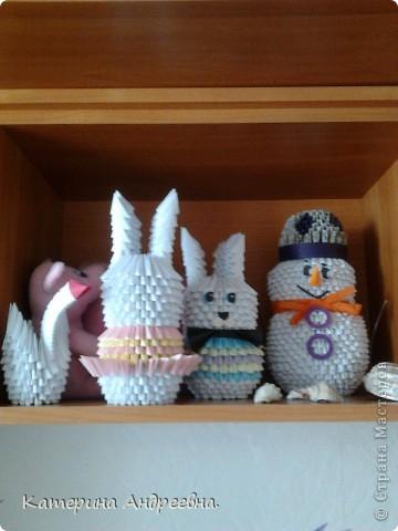 Модульная компания! Снеговичок, лебедь, зайчики - Крош и Нюша! Так спешила, что даже глазки не приклеила! фото 1