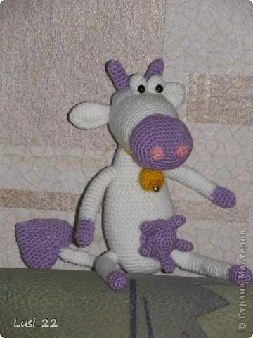 Приветствуйте коровку Дашу. Родилась она на днях. Захотелось мне не розовую, а фиолетовую... Описание здесь http://amigurumi.com.ua/pattern/36-dlya-novichkov/181-vljublyonnaja-korova фото 4