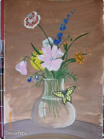 Мой муж не любит срезанные цветы. Говорит ему их жалко. Вот я и решила нарисовать ему букет цветов. Долго думала над композицией, листала журналы, смотрела фотографии... Здесь вы видите результат моей долгой работы. Это копия картины знаменитого художника...  фото 1