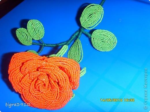 моя первая роза из бисера! фото 3