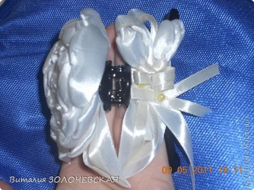 Заколка и резинка пионы фото 5