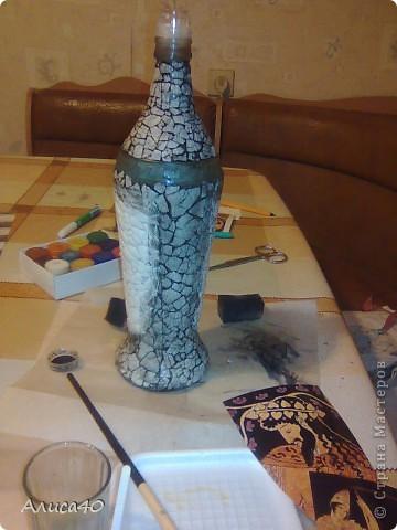 Декор предметов Декупаж Бутылка Греция Бисер Бутылки стеклянные Гуашь Скорлупа яичная фото 3