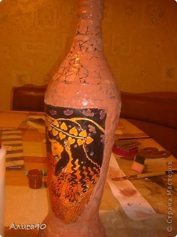 Декор предметов Декупаж Бутылка Греция Бисер Бутылки стеклянные Гуашь Скорлупа яичная фото 5