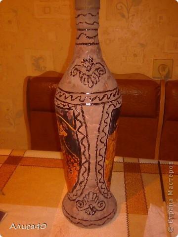 Декор предметов Декупаж Бутылка Греция Бисер Бутылки стеклянные Гуашь Скорлупа яичная фото 8